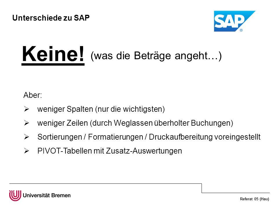 Referat 05 (Hau) Unterschiede zu SAP Aber: weniger Spalten (nur die wichtigsten) weniger Zeilen (durch Weglassen überholter Buchungen) Sortierungen /