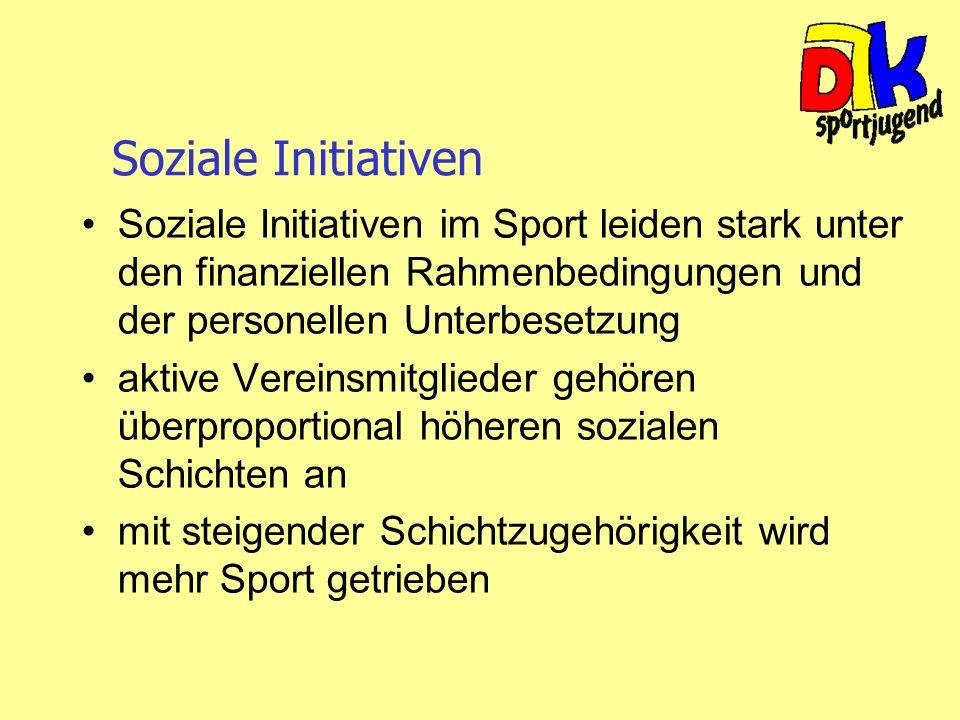Soziale Initiativen Soziale Initiativen im Sport leiden stark unter den finanziellen Rahmenbedingungen und der personellen Unterbesetzung aktive Verei
