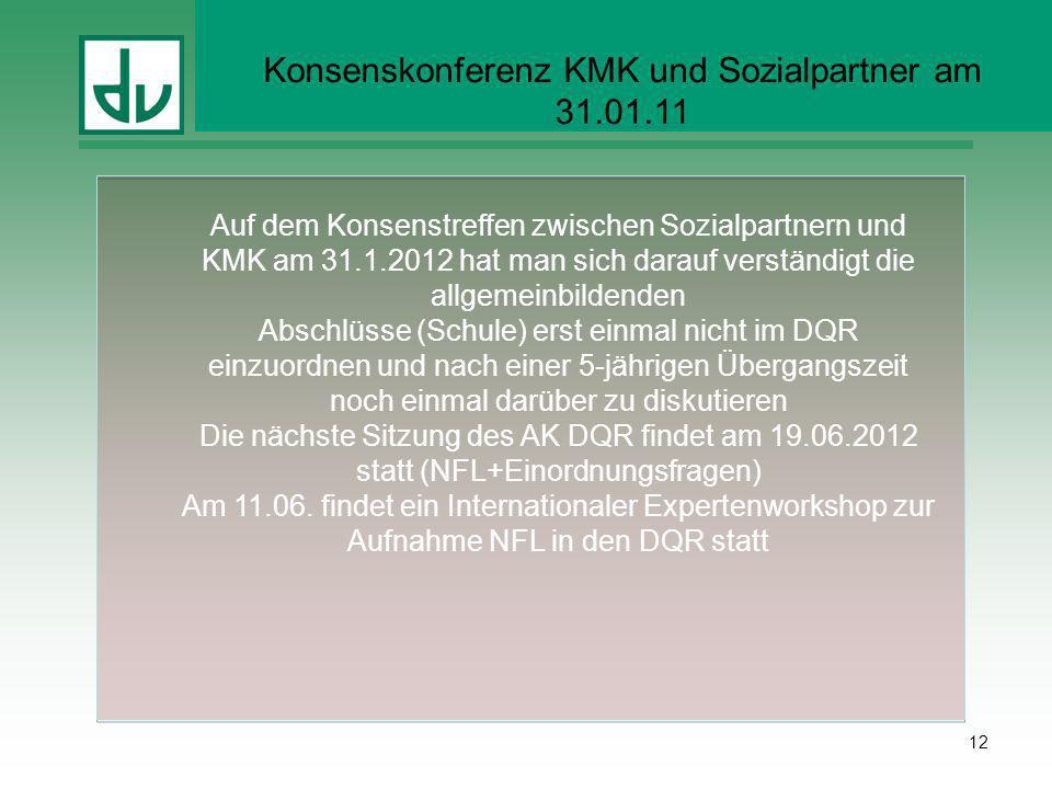Konsenskonferenz KMK und Sozialpartner am 31.01.11 12 Auf dem Konsenstreffen zwischen Sozialpartnern und KMK am 31.1.2012 hat man sich darauf verständ