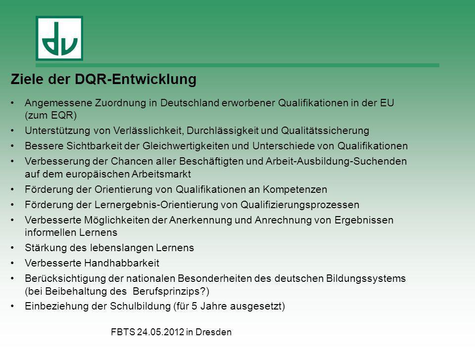 FBTS 24.05.2012 in Dresden Ziele der DQR-Entwicklung Angemessene Zuordnung in Deutschland erworbener Qualifikationen in der EU (zum EQR) Unterstützung