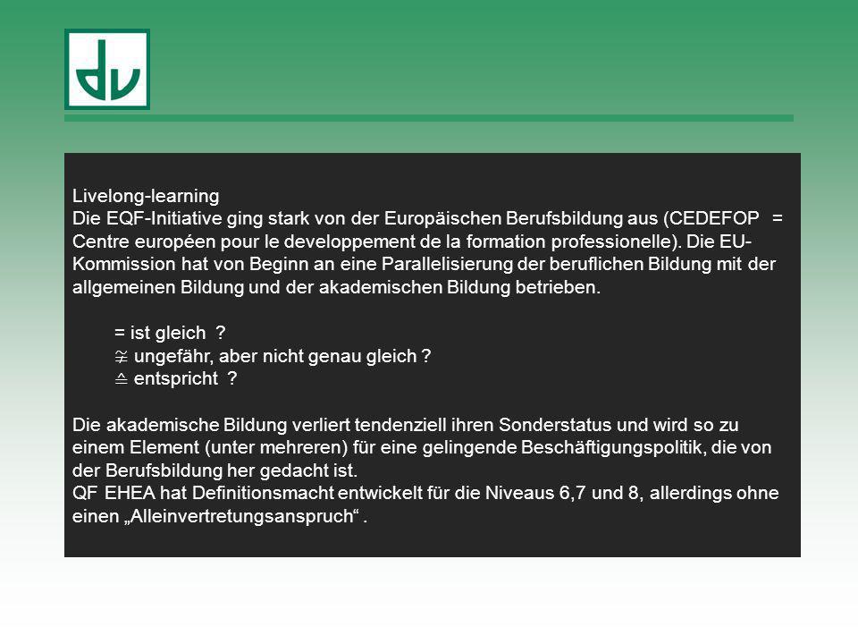 FBTS 24.05.2012 in Dresden Ziele der DQR-Entwicklung Angemessene Zuordnung in Deutschland erworbener Qualifikationen in der EU (zum EQR) Unterstützung von Verlässlichkeit, Durchlässigkeit und Qualitätssicherung Bessere Sichtbarkeit der Gleichwertigkeiten und Unterschiede von Qualifikationen Verbesserung der Chancen aller Beschäftigten und Arbeit-Ausbildung-Suchenden auf dem europäischen Arbeitsmarkt Förderung der Orientierung von Qualifikationen an Kompetenzen Förderung der Lernergebnis-Orientierung von Qualifizierungsprozessen Verbesserte Möglichkeiten der Anerkennung und Anrechnung von Ergebnissen informellen Lernens Stärkung des lebenslangen Lernens Verbesserte Handhabbarkeit Berücksichtigung der nationalen Besonderheiten des deutschen Bildungssystems (bei Beibehaltung des Berufsprinzips?) Einbeziehung der Schulbildung (für 5 Jahre ausgesetzt)