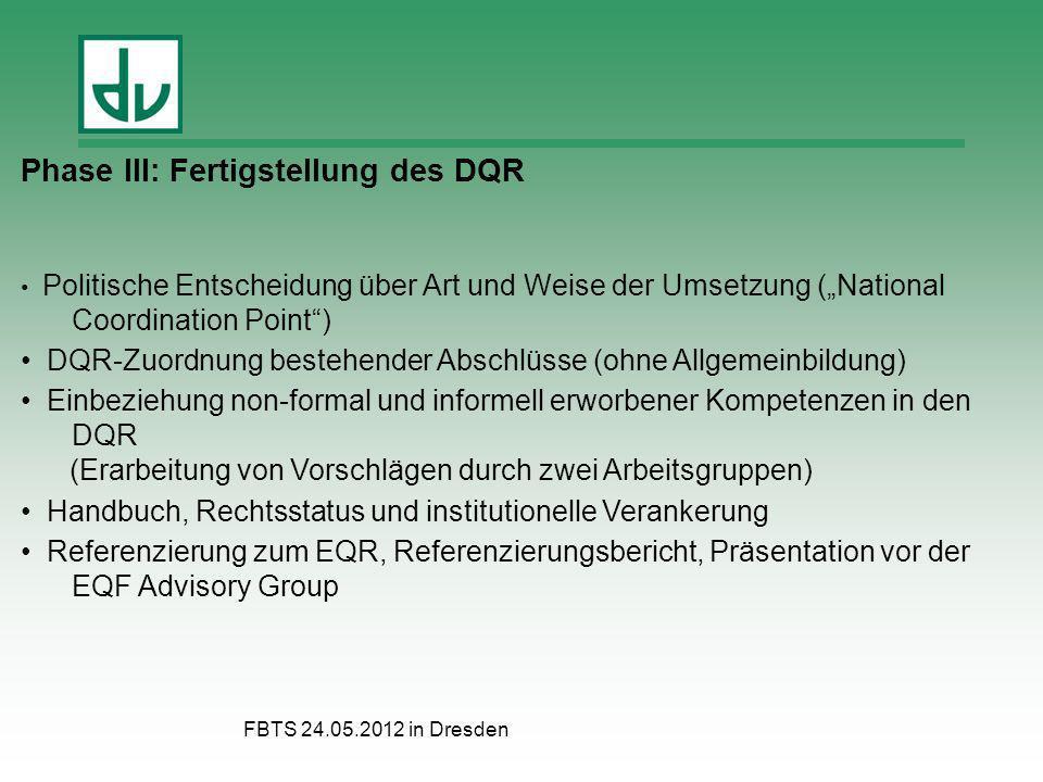 FBTS 24.05.2012 in Dresden Phase III: Fertigstellung des DQR Politische Entscheidung über Art und Weise der Umsetzung (National Coordination Point) DQ