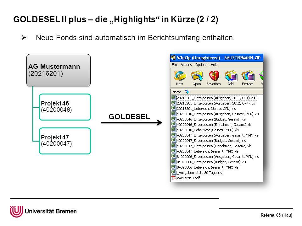 Referat 05 (Hau) GOLDESEL II plus – die Highlights in Kürze (2 / 2) Neue Fonds sind automatisch im Berichtsumfang enthalten.