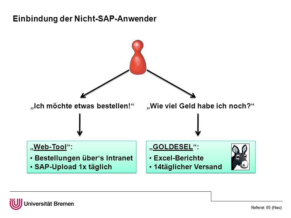 Referat 05 (Hau) Einbindung der Nicht-SAP-Anwender Ich möchte etwas bestellen!Wie viel Geld habe ich noch? Web-Tool: Bestellungen übers Intranet SAP-U