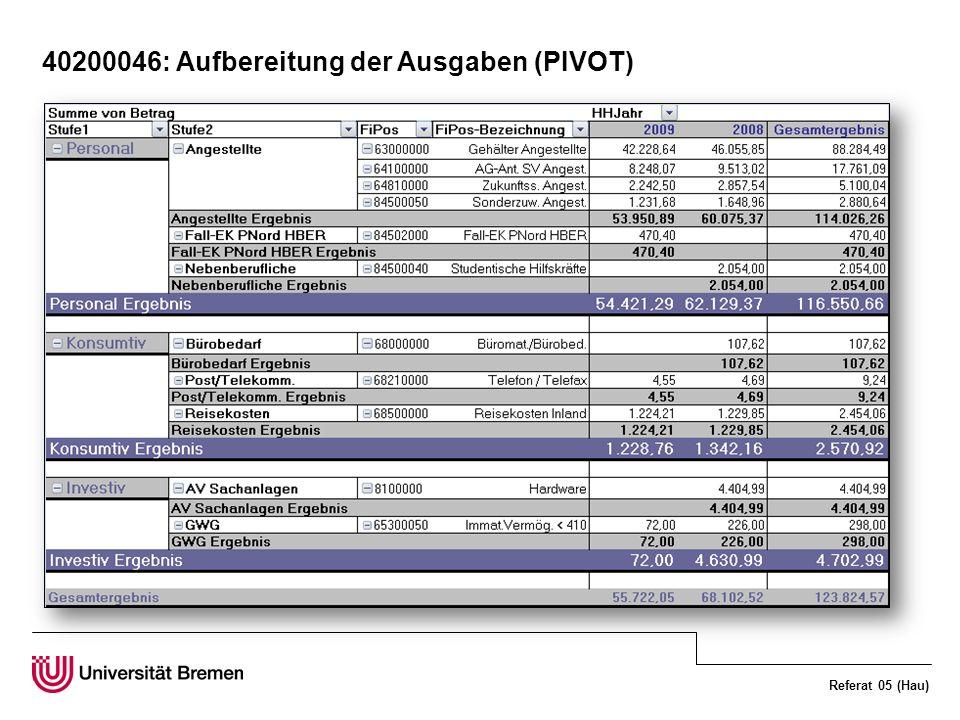 Referat 05 (Hau) 40200046: Aufbereitung der Ausgaben (PIVOT)