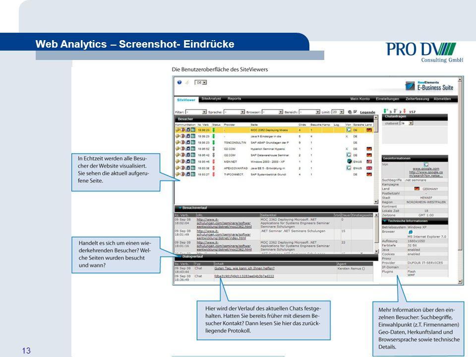 13 Web Analytics – Screenshot- Eindrücke Aus Besuchern Kunden machen