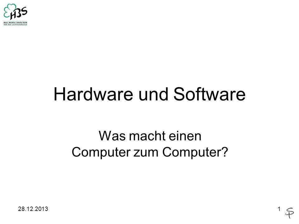28.12.20131 Hardware und Software Was macht einen Computer zum Computer?