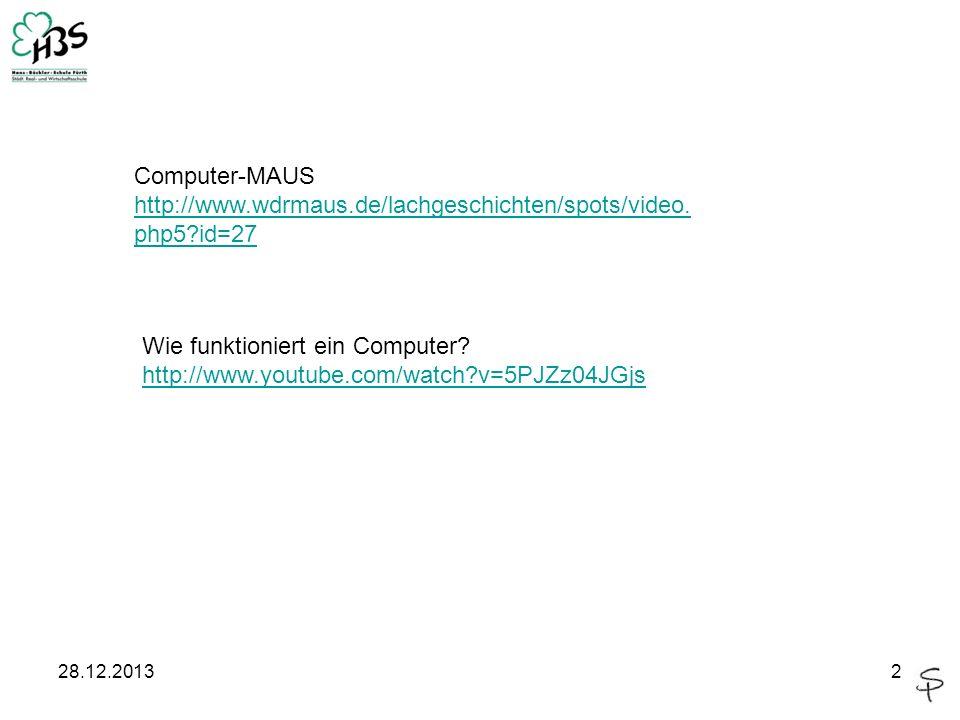 28.12.20132 Wie funktioniert ein Computer? http://www.youtube.com/watch?v=5PJZz04JGjs Computer-MAUS http://www.wdrmaus.de/lachgeschichten/spots/video.