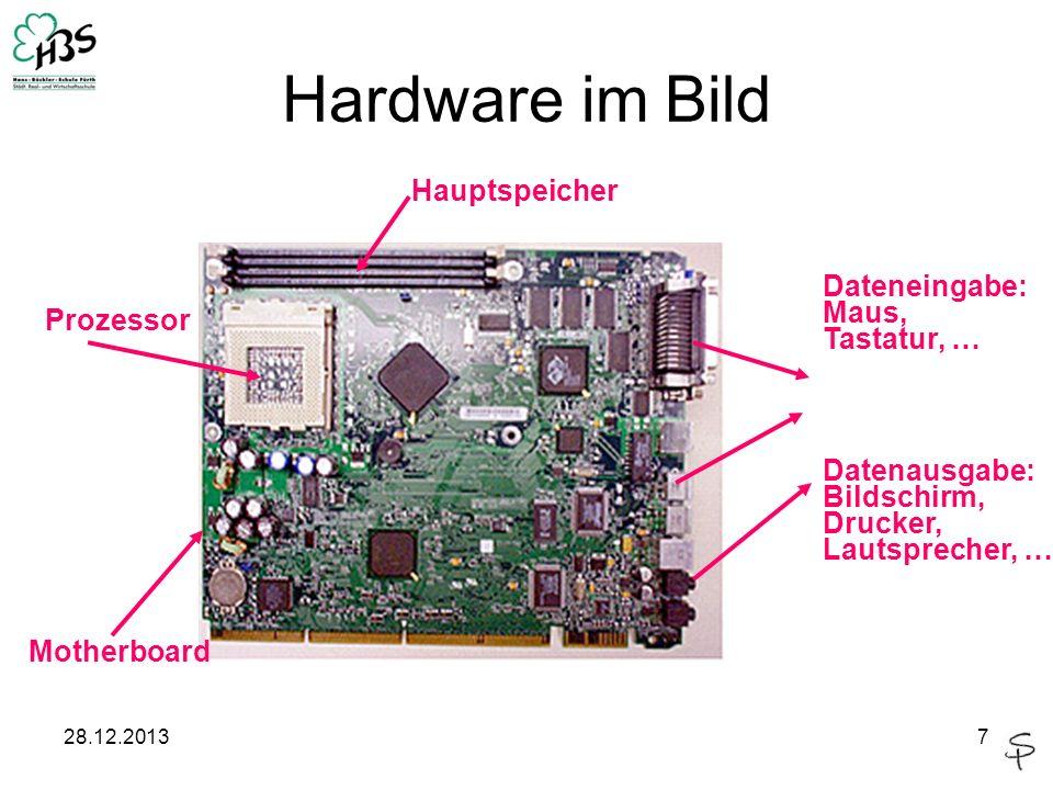 28.12.20137 Hardware im Bild Prozessor Hauptspeicher Dateneingabe: Maus, Tastatur, … Datenausgabe: Bildschirm, Drucker, Lautsprecher, …c Motherboard