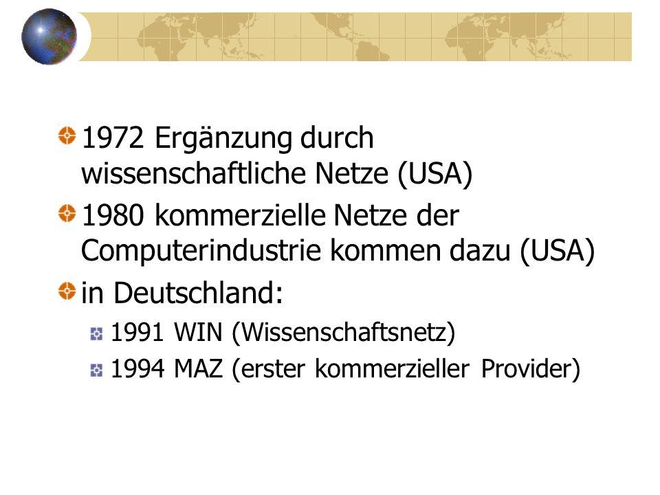 Geschichte des Internet 1969 militärisches Forschungsprojekt (USA) dezentrale Rechnerstruktur (Weg und Pakete)