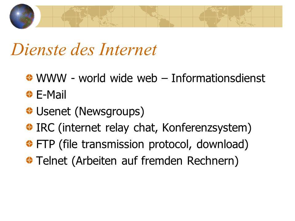 Funktion des Internet plattformunabhängige Kommunikation TCP = Transmission Control Protocol Umwandlung der Daten in Pakete Zusammensetzen der Pakete beim Empfänger IP = Internet Protocol sucht den Weg zum Empfänger leitet die Pakete zum Ziel