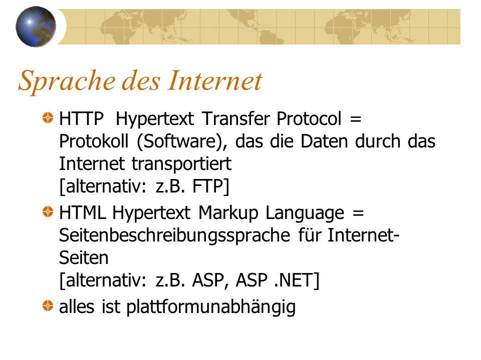Dienste des Internet WWW - world wide web – Informationsdienst E-Mail Usenet (Newsgroups) IRC (internet relay chat, Konferenzsystem) FTP (file transmission protocol, download) Telnet (Arbeiten auf fremden Rechnern)