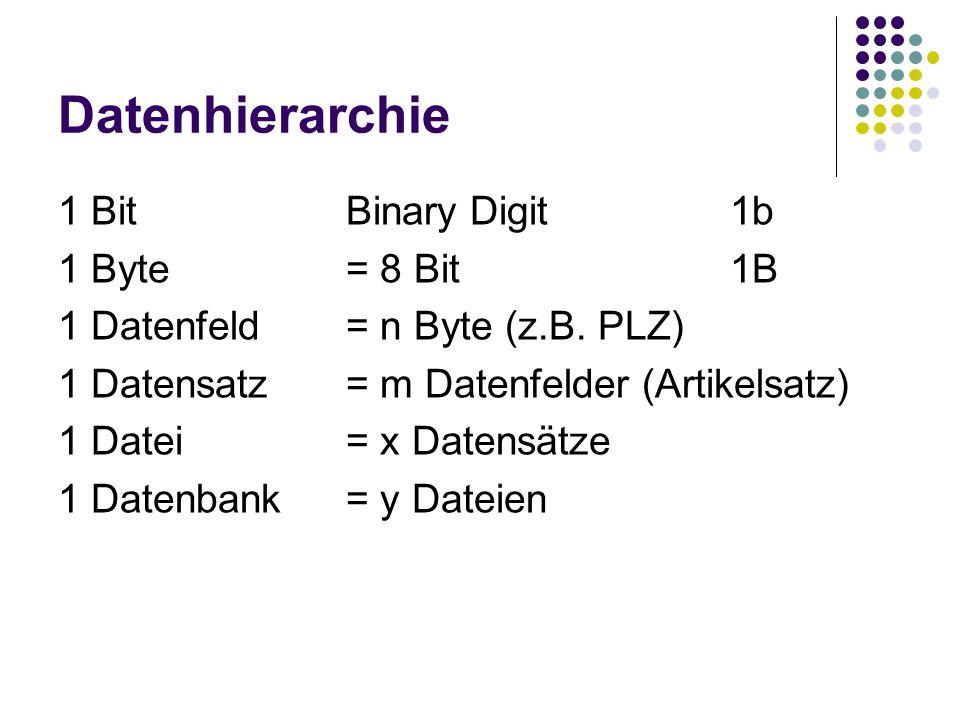 Datenhierarchie 1 BitBinary Digit1b 1 Byte= 8 Bit1B 1 Datenfeld= n Byte (z.B. PLZ) 1 Datensatz= m Datenfelder (Artikelsatz) 1 Datei= x Datensätze 1 Da