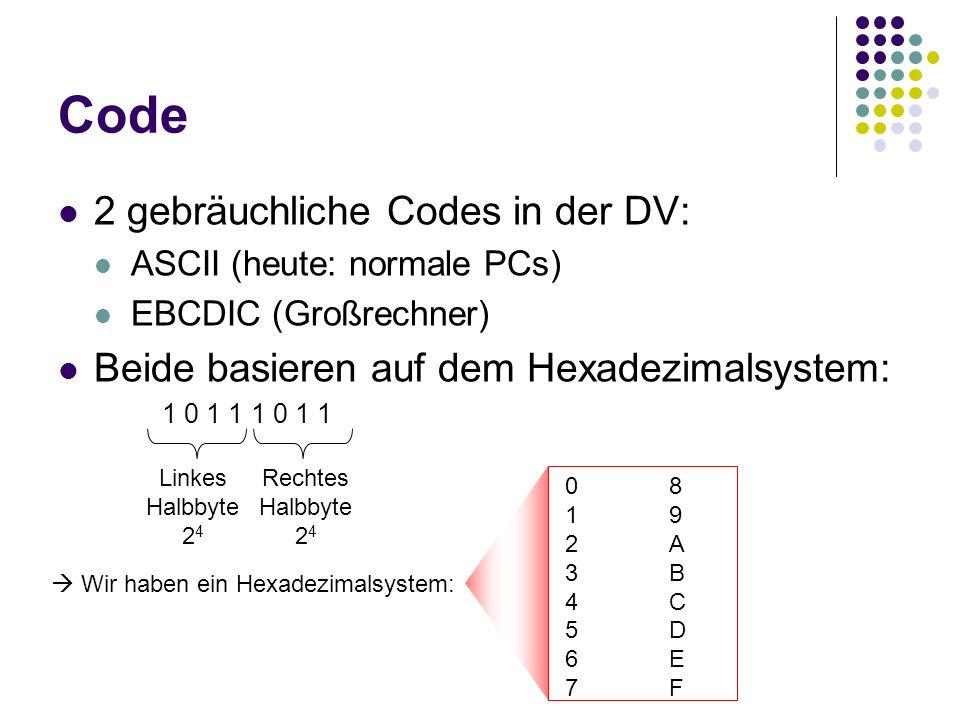 Code 2 gebräuchliche Codes in der DV: ASCII (heute: normale PCs) EBCDIC (Großrechner) Beide basieren auf dem Hexadezimalsystem: 1 0 1 1 Linkes Halbbyt