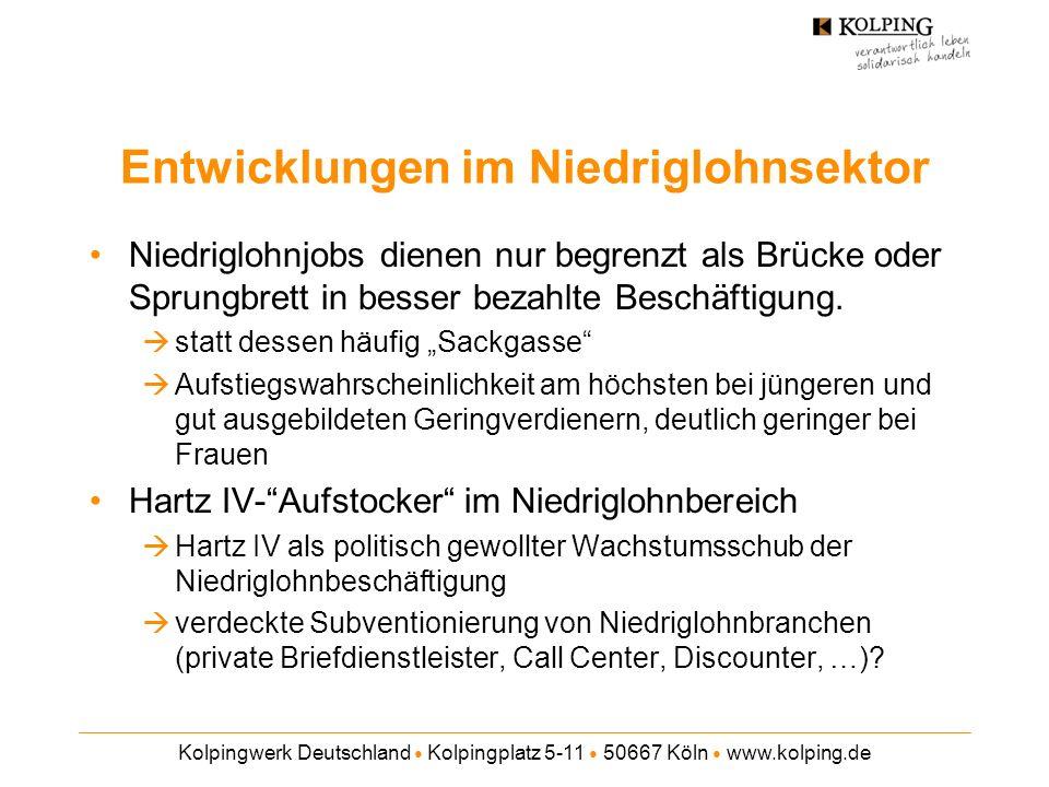 Kolpingwerk Deutschland Kolpingplatz 5-11 50667 Köln www.kolping.de Entwicklungen im Niedriglohnsektor Niedriglohnjobs dienen nur begrenzt als Brücke