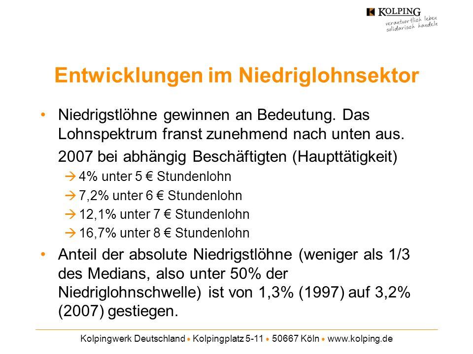 Kolpingwerk Deutschland Kolpingplatz 5-11 50667 Köln www.kolping.de Entwicklungen im Niedriglohnsektor Gering qualifizierte tragen ein besonders hohes Niedriglohnrisiko, aber die große (und wachsende) Mehrheit der Niedriglohnbeschäftigten ist formal qualifiziert.