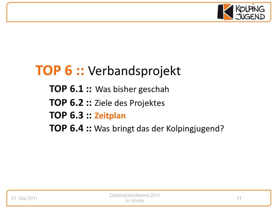 Diözesankonferenz 2011 In Hörste 21. Mai 201111 TOP 6 :: Verbandsprojekt TOP 6.1 :: Was bisher geschah TOP 6.2 :: Ziele des Projektes TOP 6.3 :: Zeitp