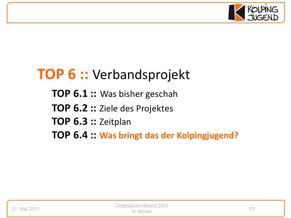 Diözesankonferenz 2011 In Hörste 21. Mai 201113 TOP 6 :: Verbandsprojekt TOP 6.1 :: Was bisher geschah TOP 6.2 :: Ziele des Projektes TOP 6.3 :: Zeitp