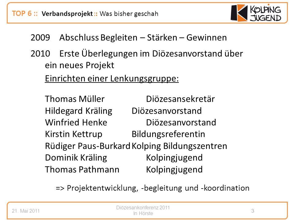 Diözesankonferenz 2011 In Hörste 21. Mai 20113 3 TOP 6 :: Verbandsprojekt :: Was bisher geschah 2010Erste Überlegungen im Diözesanvorstand über ein ne