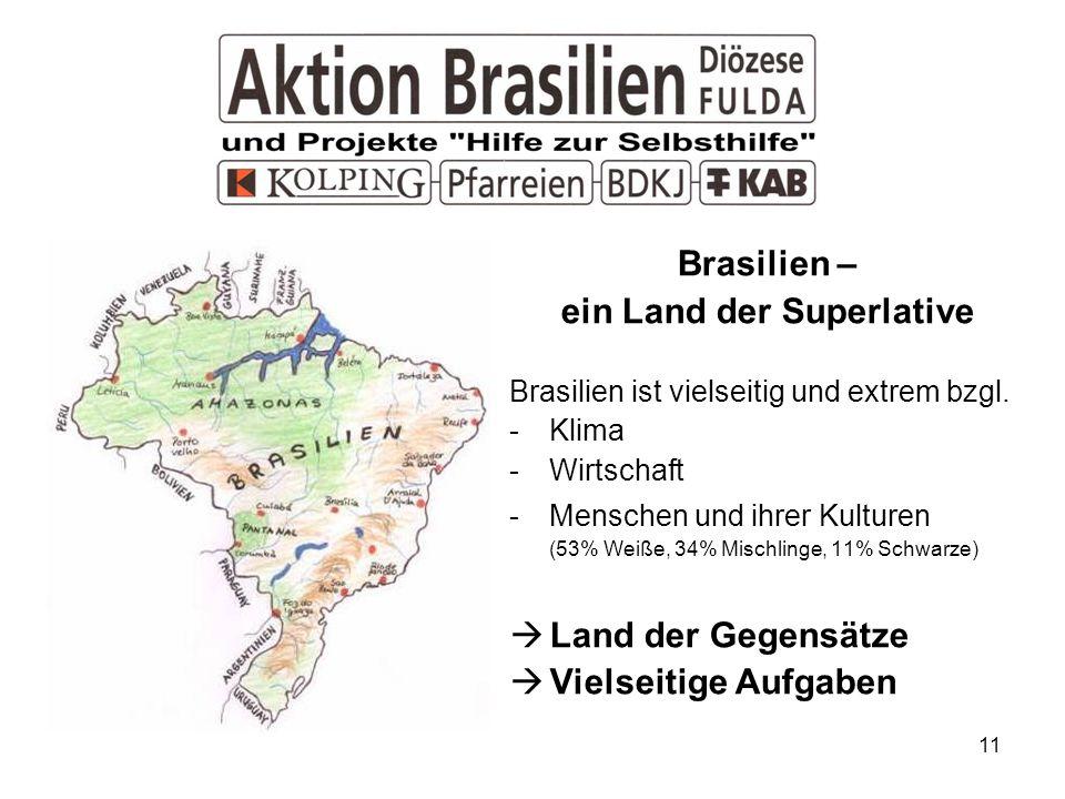 11 Brasilien – ein Land der Superlative Brasilien ist vielseitig und extrem bzgl. -Klima -Wirtschaft -Menschen und ihrer Kulturen (53% Weiße, 34% Misc
