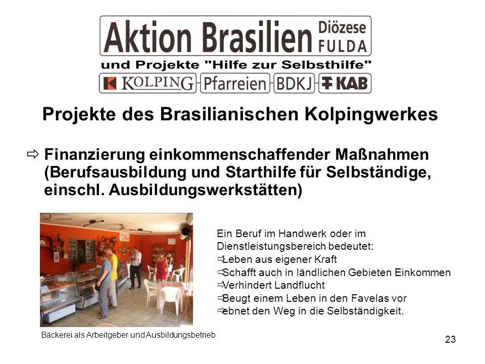 23 Projekte des Brasilianischen Kolpingwerkes Finanzierung einkommenschaffender Maßnahmen (Berufsausbildung und Starthilfe für Selbständige, einschl.