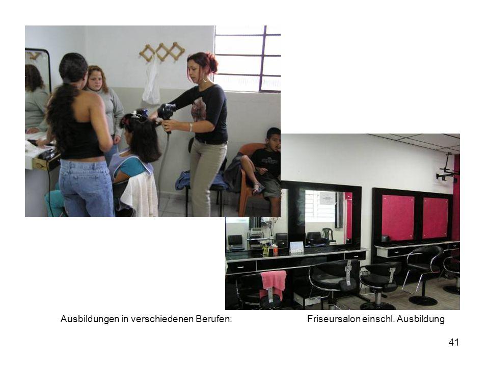 41 Friseursalon einschl. AusbildungAusbildungen in verschiedenen Berufen: