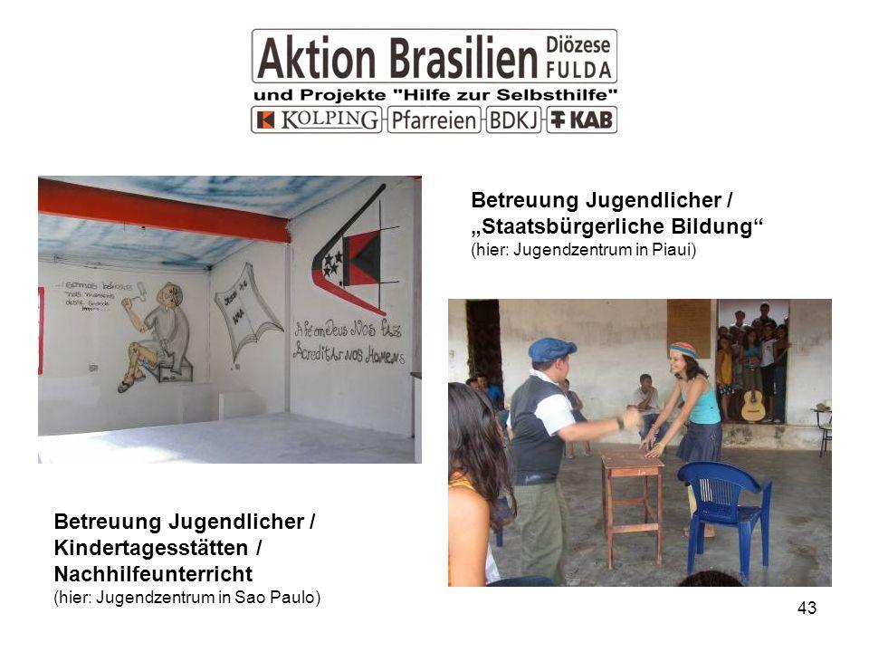 43 Betreuung Jugendlicher / Kindertagesstätten / Nachhilfeunterricht (hier: Jugendzentrum in Sao Paulo) Betreuung Jugendlicher / Staatsbürgerliche Bildung (hier: Jugendzentrum in Piaui)