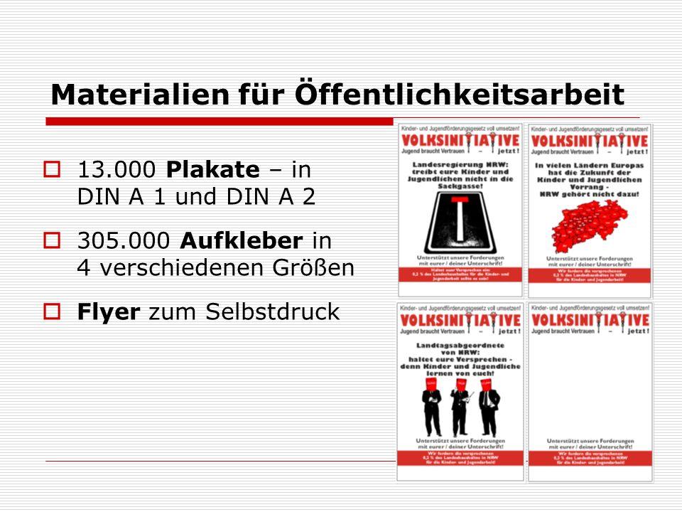 Materialien für Öffentlichkeitsarbeit 13.000 Plakate – in DIN A 1 und DIN A 2 305.000 Aufkleber in 4 verschiedenen Größen Flyer zum Selbstdruck