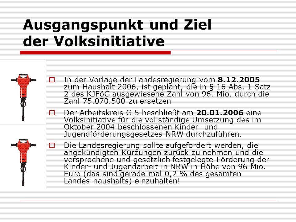 Ausgangspunkt und Ziel der Volksinitiative In der Vorlage der Landesregierung vom 8.12.2005 zum Haushalt 2006, ist geplant, die in § 16 Abs.