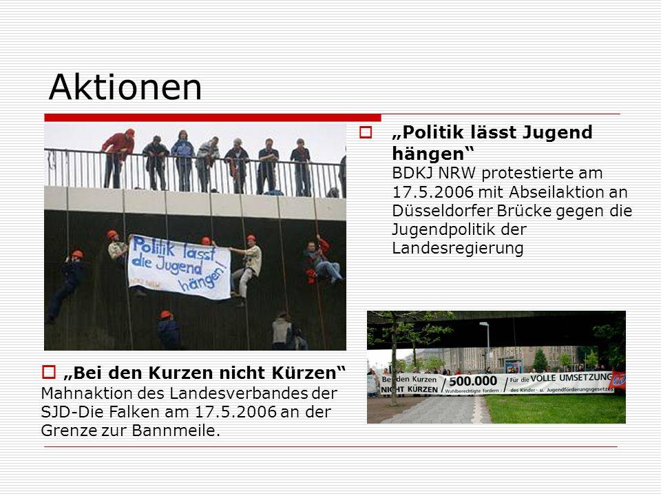 Aktionen Politik lässt Jugend hängen BDKJ NRW protestierte am 17.5.2006 mit Abseilaktion an Düsseldorfer Brücke gegen die Jugendpolitik der Landesregierung Bei den Kurzen nicht Kürzen Mahnaktion des Landesverbandes der SJD-Die Falken am 17.5.2006 an der Grenze zur Bannmeile.