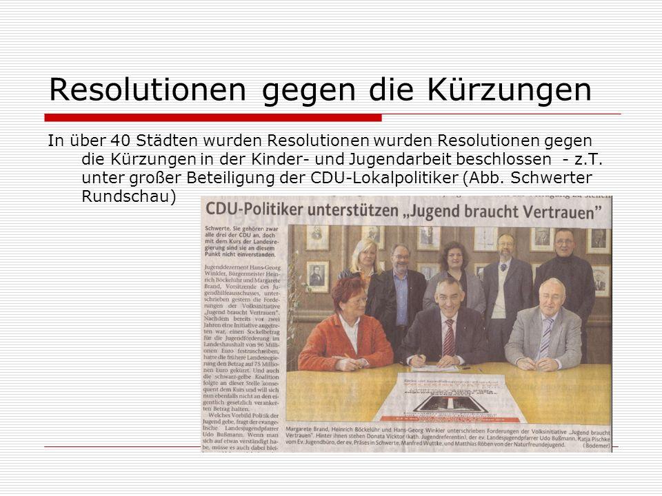 Resolutionen gegen die Kürzungen In über 40 Städten wurden Resolutionen wurden Resolutionen gegen die Kürzungen in der Kinder- und Jugendarbeit beschlossen - z.T.