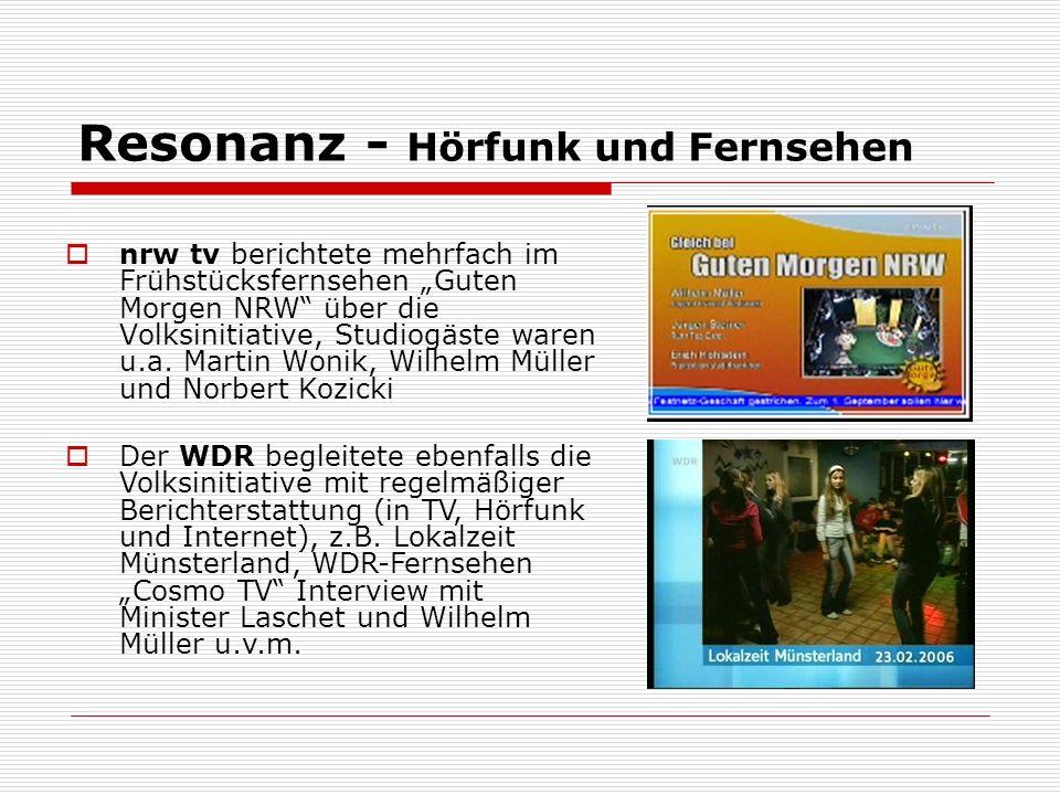 Resonanz - Hörfunk und Fernsehen nrw tv berichtete mehrfach im Frühstücksfernsehen Guten Morgen NRW über die Volksinitiative, Studiogäste waren u.a.
