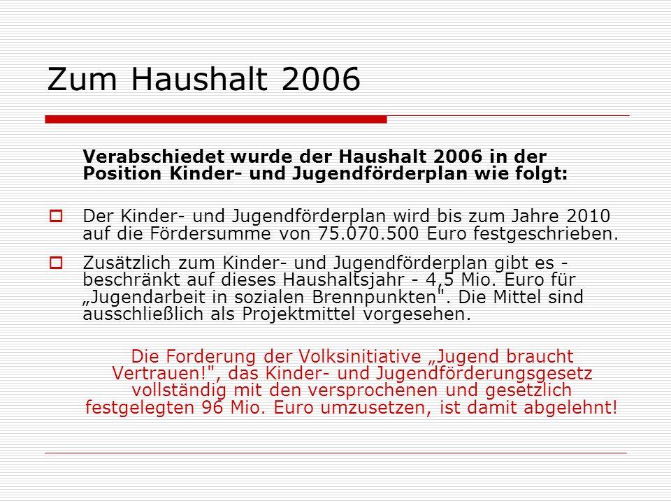 Zum Haushalt 2006 Verabschiedet wurde der Haushalt 2006 in der Position Kinder- und Jugendförderplan wie folgt: Der Kinder- und Jugendförderplan wird bis zum Jahre 2010 auf die Fördersumme von 75.070.500 Euro festgeschrieben.