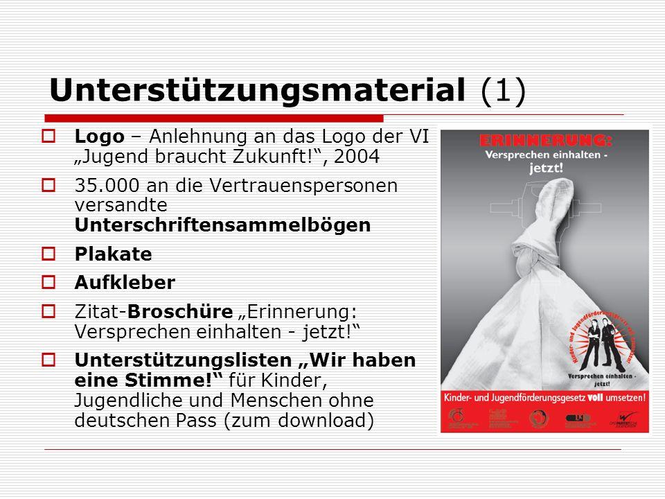 Unterstützungsmaterial (1) Logo – Anlehnung an das Logo der VI Jugend braucht Zukunft!, 2004 35.000 an die Vertrauenspersonen versandte Unterschriftensammelbögen Plakate Aufkleber Zitat-Broschüre Erinnerung: Versprechen einhalten - jetzt.