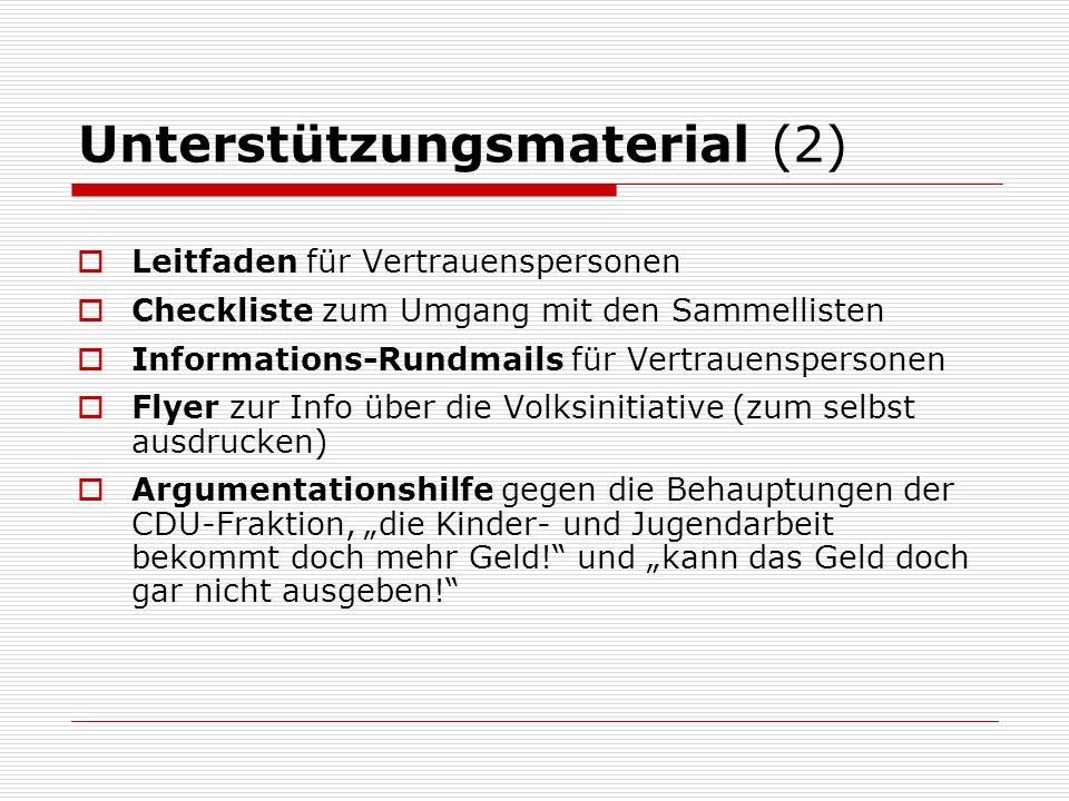 Unterstützungsmaterial (2) Leitfaden für Vertrauenspersonen Checkliste zum Umgang mit den Sammellisten Informations-Rundmails für Vertrauenspersonen Flyer zur Info über die Volksinitiative (zum selbst ausdrucken) Argumentationshilfe gegen die Behauptungen der CDU-Fraktion, die Kinder- und Jugendarbeit bekommt doch mehr Geld.