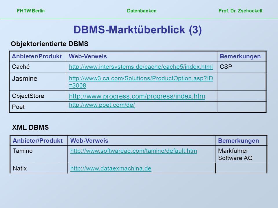 FHTW Berlin Datenbanken Prof. Dr. Zschockelt DBMS-Marktüberblick (3) Anbieter/ProduktWeb-VerweisBemerkungen Cachéhttp://www.intersystems.de/cache/cach