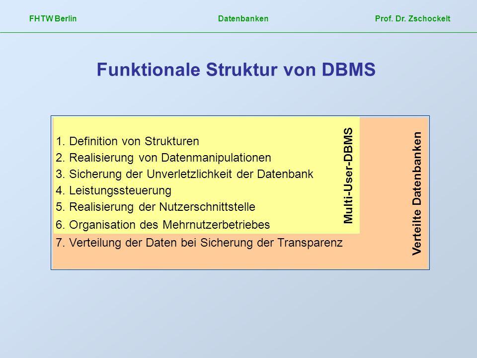 Verteilte Datenbanken Multi-User-DBMS FHTW Berlin Datenbanken Prof. Dr. Zschockelt Funktionale Struktur von DBMS 1. Definition von Strukturen 2. Reali