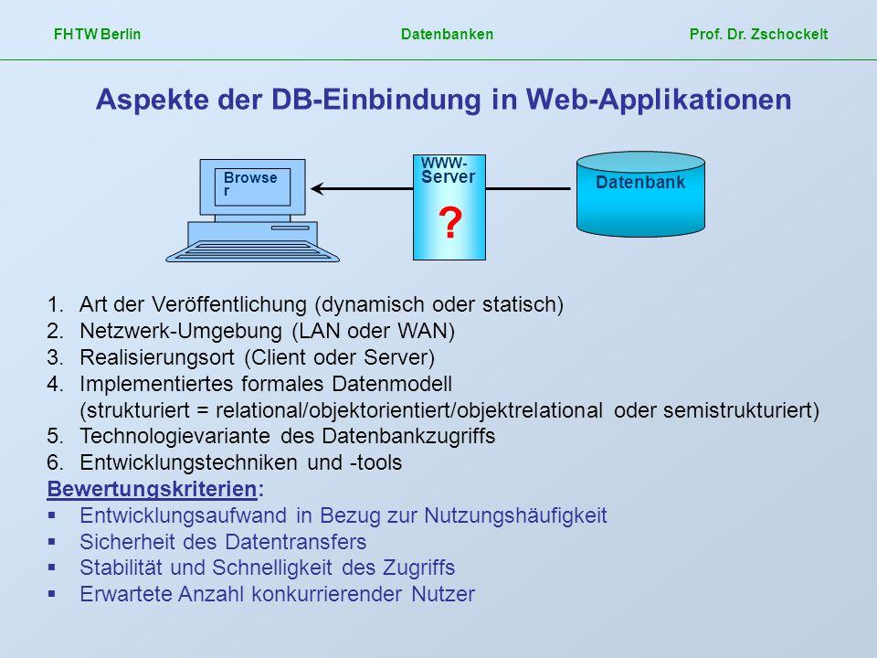 FHTW Berlin Datenbanken Prof. Dr. Zschockelt Aspekte der DB-Einbindung in Web-Applikationen Datenbank Browse r WWW- Server ? 1.Art der Veröffentlichun