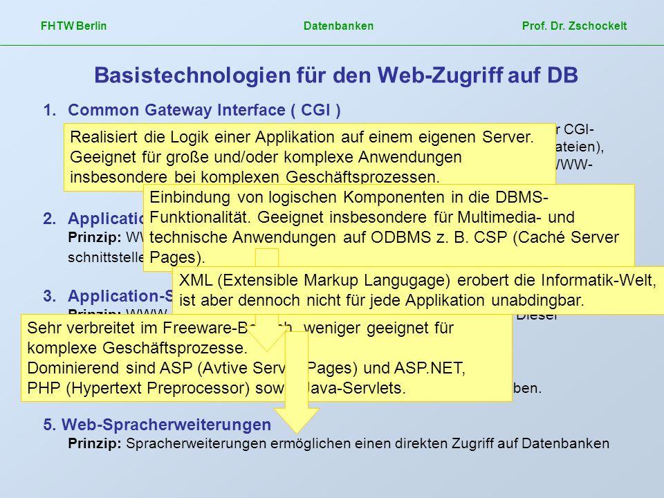 FHTW Berlin Datenbanken Prof. Dr. Zschockelt Basistechnologien für den Web-Zugriff auf DB 1.Common Gateway Interface ( CGI ) Prinzip: WWW-Server reagi