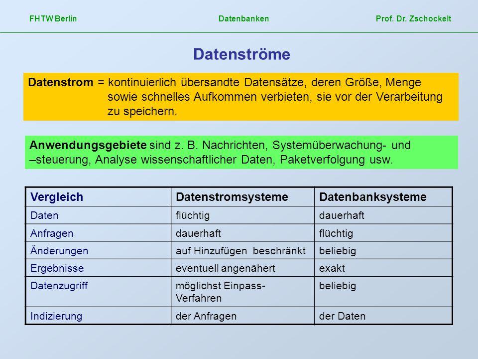 FHTW Berlin Datenbanken Prof. Dr. Zschockelt Datenströme Datenstrom = kontinuierlich übersandte Datensätze, deren Größe, Menge sowie schnelles Aufkomm