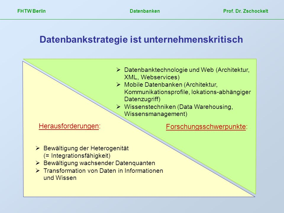 FHTW Berlin Datenbanken Prof. Dr. Zschockelt Datenbankstrategie ist unternehmenskritisch Herausforderungen: Bewältigung der Heterogenität (= Integrati