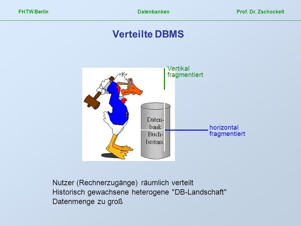 FHTW Berlin Datenbanken Prof. Dr. Zschockelt Verteilte DBMS Vertikal fragmentiert horizontal fragmentiert Nutzer (Rechnerzugänge) räumlich verteilt Hi