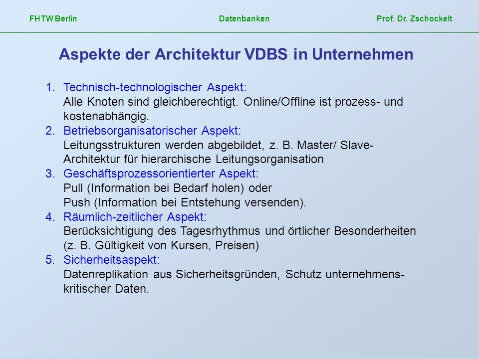 FHTW Berlin Datenbanken Prof. Dr. Zschockelt Aspekte der Architektur VDBS in Unternehmen 1.Technisch-technologischer Aspekt: Alle Knoten sind gleichbe