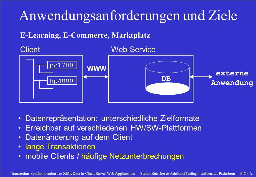 Transaction Synchronization for XML Data in Client Server Web Applications - Stefan Böttcher & Adelhard Türling, Universität Paderborn - Folie 3 Anwendungsanforderungen und Ziele DB E-Learning, E-Commerce, Marktplatz Client pc1700 hp4000 Datenrepräsentation: unterschiedliche Zielformate XML Erreichbar auf unterschiedlichen HW/SW-PlattformenHTTP Datenänderung auf dem Client lange TransaktionenOLLT mobile Clients / häufige Netzunterbrechungen externe Anwendung Web-Service WWW