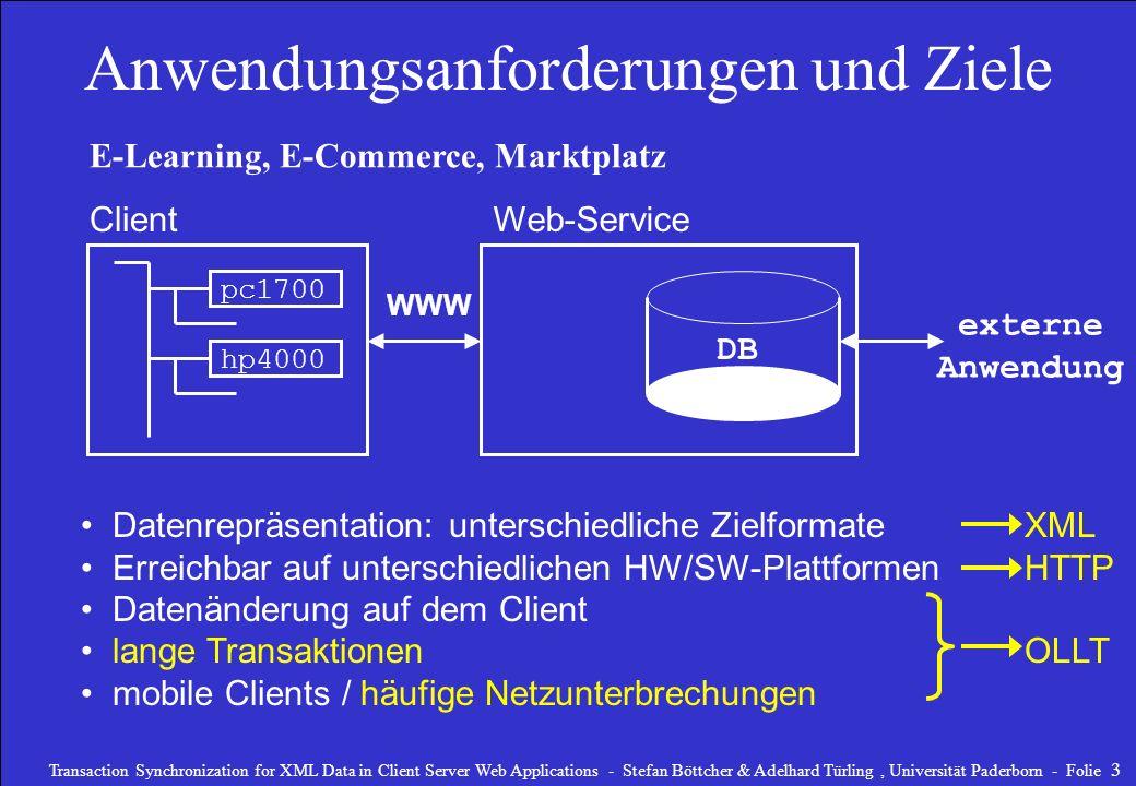 Transaction Synchronization for XML Data in Client Server Web Applications - Stefan Böttcher & Adelhard Türling, Universität Paderborn - Folie 4 Architektur und Technologie DB Client externe Anwendung XML- Daten HTTP Web-Service XML-Datenbank- Mapping für Queries & Updates Transaction-System XML Commit XML Map Web-Server & Mapping Listener browse read update this / update any delete this / delete any insert optimiert / normal