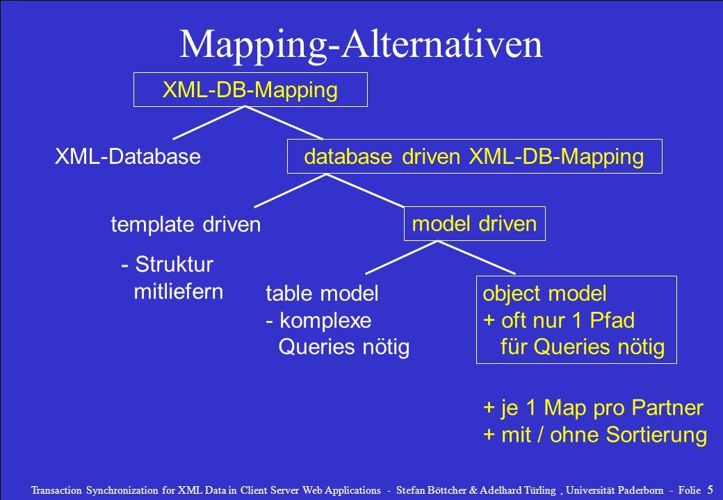 Transaction Synchronization for XML Data in Client Server Web Applications - Stefan Böttcher & Adelhard Türling, Universität Paderborn - Folie 6 Unterstützte Mappings database driven XML-DB-Mapping model driven + je 1 Map pro Partner + mit / ohne Sortierung object model + oft nur 1 Pfad für Queries nötig Unser Ansatz: Start-Element (Tabelle+Satz) + Integritätsbedingungen + gewünschter DB-Ausschnitt generiert DTD-Vorschlag + Map XML-DB-Mapping
