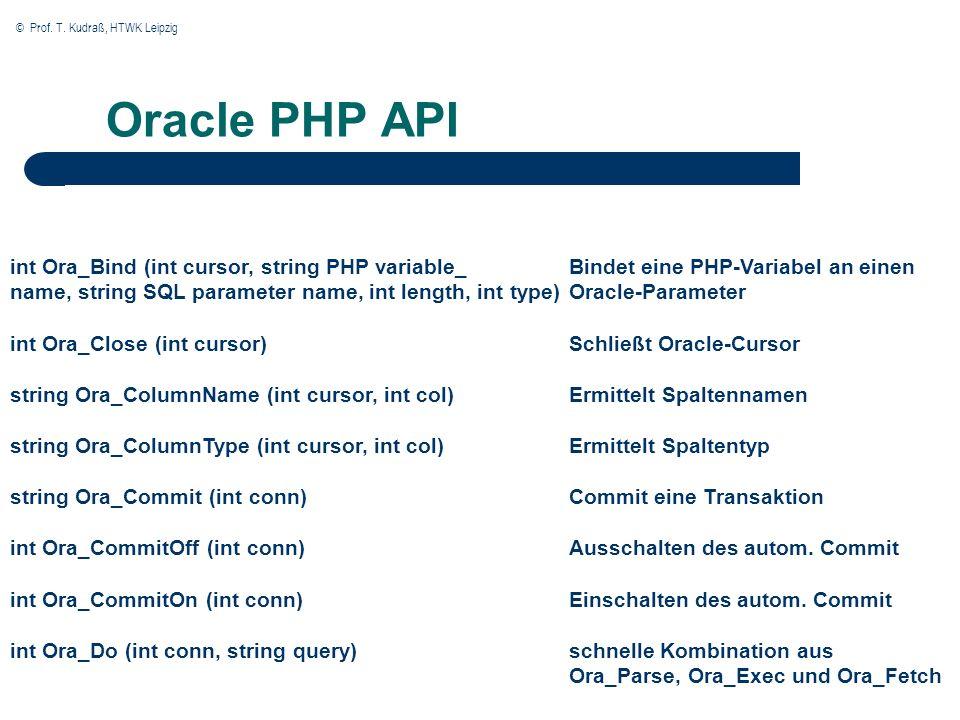 © Prof. T. Kudraß, HTWK Leipzig Oracle PHP API int Ora_Bind (int cursor, string PHP variable_ name, string SQL parameter name, int length, int type) i