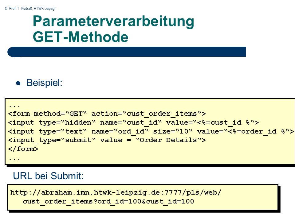 © Prof. T. Kudraß, HTWK Leipzig Parameterverarbeitung GET-Methode Beispiel: http://abraham.imn.htwk-leipzig.de:7777/pls/web/ cust_order_items?ord_id=1