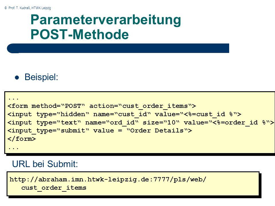 © Prof. T. Kudraß, HTWK Leipzig Parameterverarbeitung POST-Methode Beispiel: http://abraham.imn.htwk-leipzig.de:7777/pls/web/ cust_order_items http://