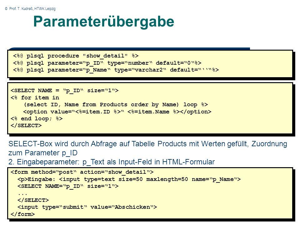 © Prof. T. Kudraß, HTWK Leipzig Parameterübergabe SELECT-Box wird durch Abfrage auf Tabelle Products mit Werten gefüllt, Zuordnung zum Parameter p_ID